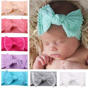 Baby-Bogen Hairband Kleinkind Elastic Quaste Turban Baby Big Bow Stirnband Solide Kopfbedeckung Zubehör HHA1180