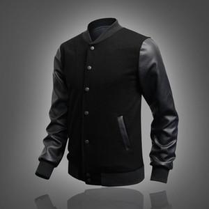 Alta qualidade stand Collar Baseball Marca Jacket Brasão Masculino PU Leather Sleeve costura uniforme Mens Botão jaqueta preta