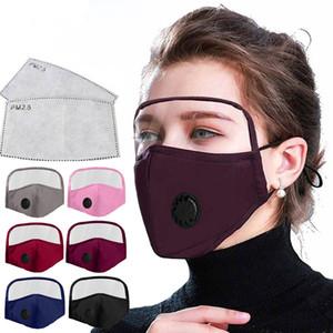 máscara facial com face Escudo lavável algodão reutilizável metade do rosto de proteção máscara boca Bandanas com slot