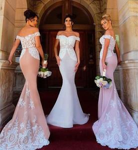 2020 Elegant Lace Mermaid Bridesmaid Dresses Off Shoulder Applique Long Floor Length Wedding Guest Gowns Maid of Honor Dresses