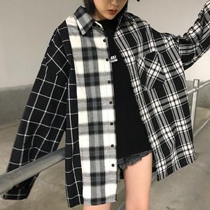 SexeMara 2019 Осень New Блуза отложным Полный Batwing рукавом Plaid Цвет Сращивание способа повелительниц свободную рубашку CST159