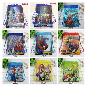 1pcs Super Mario Bros Mochila escolar para niño No tejido Superhero Drawstring Bag Girl Kids Birthday Favors