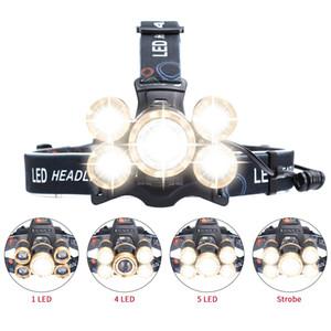 5 LED-Leuchten Scheinwerfer T6 + 4 X Q5 LED-Scheinwerfer 4 getaktete Angeln Lampe wasserdichten Scheinwerfer im Freien kampierende wandernden Kopf Taschenlampe