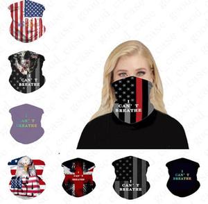 Unisex senza soluzione di continuità l'America Bandiera Bandane magico velo maschera di guida del tubo del fronte del collo foulard non posso respirare Stampa fascia Sport D6407