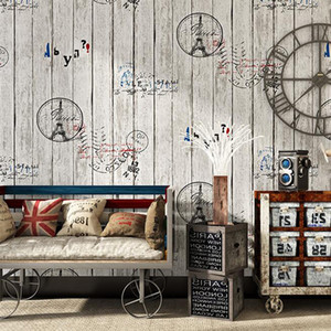 3D Wallpaper Vintage Old Wood Grain rullo bordo di legno Plank Lettere funzione Fondo Documento di parete Cafe Conservare