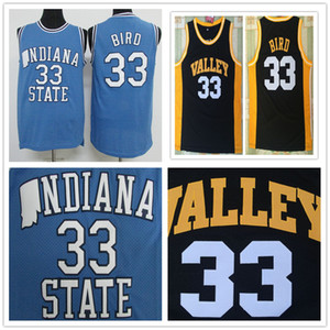 NCAA Men 33 Larry Bird Indiana State College Sycamore Valley Springs baketball Haute école Jersey Oiseau Bleu Noir Cousu