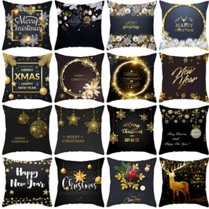 New Fashion Black Gold Christmas Kissenbezug Snowflake Brief Printing Pillowcase Frohes Neues Jahr Multi Style 4 2jz H1