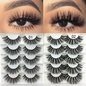 5 paires 3D Faux Mink cheveux doux faux cils Fluffy Wispy Cils main douce naturelle des yeux Outils de maquillage Extension