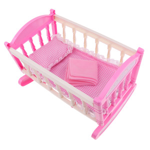 Pink Rocking Bed for Dolls | Baby Doll Cradle Toy Furniture and Play Accessories | Fits 9-12inch Reborn Dolls