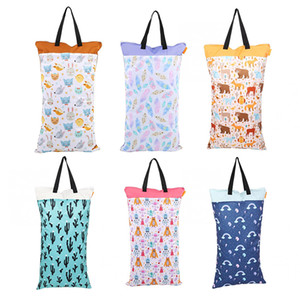 Waterproof Hanging Wet Dry Pail Bag Baby Cloth Diaper Bag Large Cart for Inserts Nappy Laundry With Two Zippered Nursing Wet