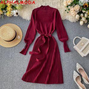 ALPHALMODA Col Boutons manches plissées Femme Automne Hiver Cravate Robe plissée Jupettes Knit Femme Vintage Robe classique