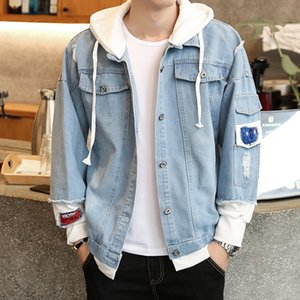 Hooded hole denim jacket men's autumn trend men's clothes Sweater coat all-match sweater coat