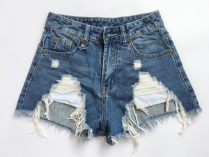 Verão Mulheres RI3 calções Tassel mulheres jeans da moda fresco do estilo furo furos lavado desgastado tamanho asiático calções rebarbas jean menina 25-30 zsxx74327e #