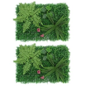 2Pcs Artificial Green Plant Lawns Carpet Artificial Grass Wall Panel Home Garden Wall Landscaping Miniature Lawn Backdrop Decora