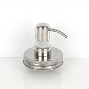 Wholesale Screw Shampoo Bottle Soap Stainless Steel Silver Mason Jar (not including the Jar) Lid Glass Lotion Dispenser Pump