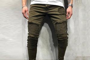 Hommes Fold Trou Jeans Solide Couleur Vert Hip Hop Casual longues Skinny Jeans Ripped Biker Slim Fit Designer Pantalons Hommes