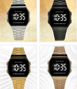 TOUCH SCREEN WATCH Retail A168 LED Watch Sport Digital Watches High Quality Alarm Rainbow Watches with Ultrathin Electronic Watches