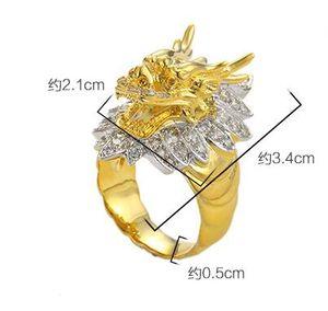 Bague tête de dragon en or plaqué or Vietnam bague homme taille UE 9 à 12