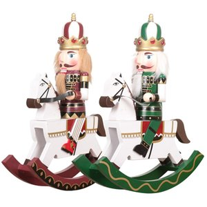 30cm Wooden Nutcracker Soldier Puppet Rocking Horse Figurine Doll Wood Crafts Desktop Shopwhindow Ornaments Christmas Gifts