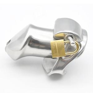 El nuevo diseño de acero inoxidable 316 Cock jaula de castidad masculino Dispositivo anillo del pene 2 mágica Cerraduras Bondage BDSM esclavo juguete adulto del sexo para los hombres