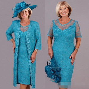 Turkuaz Dantel Artı Boyutu anne Dantel Ceket ile Gelin Elbiseler Özel Yapmak Çay uzunlukta Anne Örgün Düğün kıyafeti