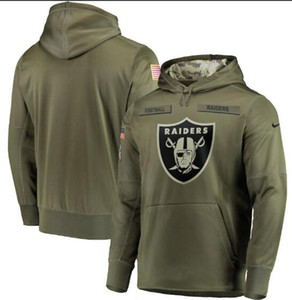 2019 Hommes Oakland New Style Raider Salut au service Sideline Therma Performance Sweat à capuche Olive