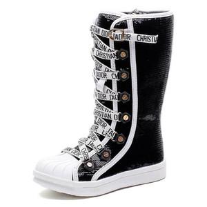 Stivali con paillettes moda stivali lunghi principessa stivali per bambini scarpe firmate scarpe per ragazze scarpe per bambini Martin stivali vendita al dettaglio di scarpe per bambini