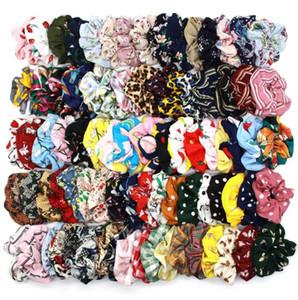 Bandas da manta Leopard 134Colors Lady menina do cabelo Scrunchy Vintage Scrunchies Dot floral Hairband Cabelo Elastic Mulheres rabo de cavalo titulares GGA3229