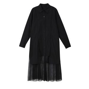 Donna Solid camicia nera abito bianco a maniche lunghe maniche lunghe di lunghezza del ginocchio con Mesh cucita casual femminile abiti scavano fuori