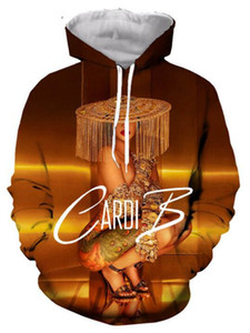 Cardi B 3D Baskılı Kazak Hoodies / Kadınlar / erkekler için kapüşonlu Tişörtü