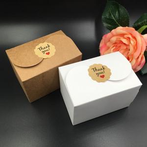 30pcs / Lot Brown e Gift Box Bianco favore Diy Sapone biscotto che Scatole per imballaggio di carta bomboniera 9 * 6 0,2 * 6cm