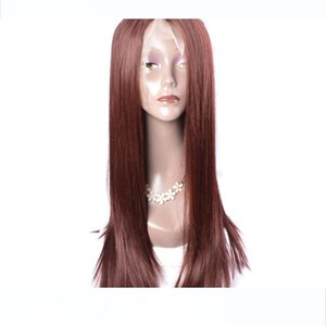Modern Show Affordable Lace Front Wigs For Sale Dark Auburn Brown Color Straight Hair Synthetic Wigs For Women