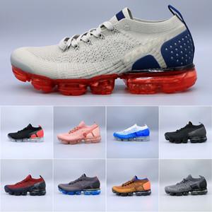 Air VaporMax Flyknit 2 Erkekler Koşu Ayakkabı Kadınlar hava fly 2.0 Sneakers Eğitmenler Spor Atletik Sıcak Corss Yürüyüş Koşu Yürüyüş Açık Ayakkabı Örgü 2018 boyutu 36-45