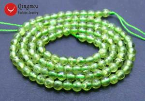 """Venta al por mayor Natural 4 mm verde redondo peridot gema cuentas de piedra para Beadwork DIY collar pulsera Strand 15 """"los655 envío gratis"""