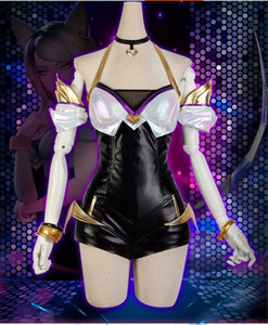 LOL League of Legends KDA AHRI Leather Suit Bodysuit Cosplay Mulheres completa
