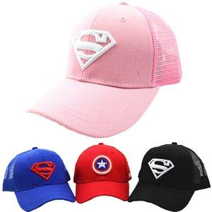 3-10 Yrs Children Hats Superman Baseball Cap Captain America Baby Hip Hop Hats Summer Fashion Boy Snapback Boys Hip Hop Kids Hat