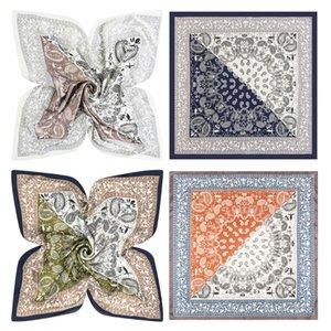 60x60 cm mujeres Faux seda cuello cuadrado bufanda étnica Paisley impresión pañuelo contraste Color Patchwork decorativo Bandanas Headwrap