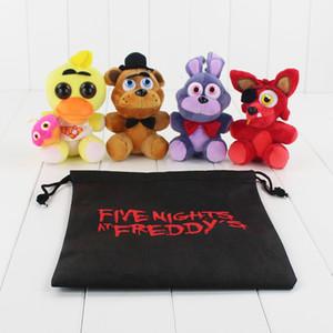 4pcs / lot cinco noites no Freddy Plush Toy FNAF Foxy Mangle Freddy Fazbear Urso Coelho Pato Recheado Pingente Boneca com presente BagMX190925