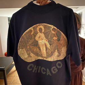 T-shirt Pintura TOP Jesus é Rei T Três Deuses Oil religiosa manga curta Summer Street Vintage Homens Mulheres T-shirt HFYMTX640
