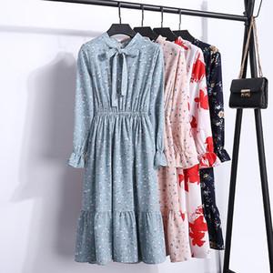 Elastico in vita Abbigliamento Donna Designer Dress primavera e in autunno Flutter maniche in chiffon Abito A Maniche lunghe stampa del vestito Slim Feminino