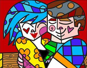 Romero Britto Así feliz en el amor Decoración Artesanías / impresión de HD pintura al óleo sobre lienzo Arte de pared Cuadros lienzo 191031
