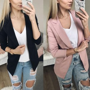 Adisputent Women Business Blazer Long Sleeve Jacket Outwear Ladies Black Pink Slim Blazer Coat Cardigan Spring Autumn Tops