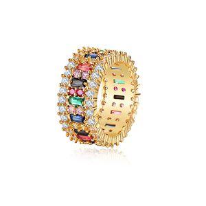Amor Anel Mulheres Homens 6-9 Gold Plated arco-íris Anéis Micro pavimentada 7 cores da flor do casamento casal jóias presente