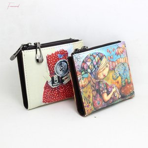 New Brand Designer Creative Painting Wallet For Girl Zipper Coin Purse Fancy Pu Leather Wallets Small Handy Bag Lady
