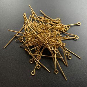 200pcs plaqué or Gauge Têtes métalliques Pins yeux pour les fournitures de fabrication de bijoux en métal Pin Faits Accessoires en gros A propos 2.8-3cm