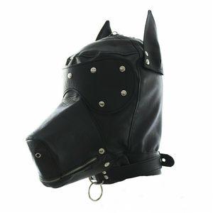 Maskerade-Kostüm-Hundewelpen-Kopfmaske mit Kragen Full Face Hood Partei Cosplay Mundknebel Halsband mit Reißverschluss muzzel Set