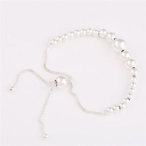 New Original 925 Sterling Silver String Pan Bracelet Of Beads Sliding Adjust Bracelet Bangle Fit Women Bead Charm Diy Jewelry