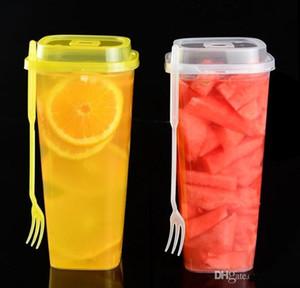 المتاح الكؤوس شفافة سميكة أكواب الشراب من البلاستيك كوب الشاي مع كوب عصير غطاء مع شوكة