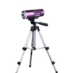 BRELONG LED multi-fonction double source lumineuse Zoom pêche lampe de poche Blu-ray lumière blanche extérieure pêche Or / Violet