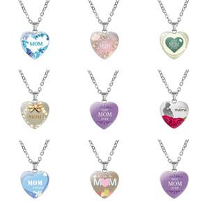 Nouveau t'aime maman collier en verre en forme de coeur collier pendentifs meilleure maman jamais bijoux de mode cadeau mère drop ship